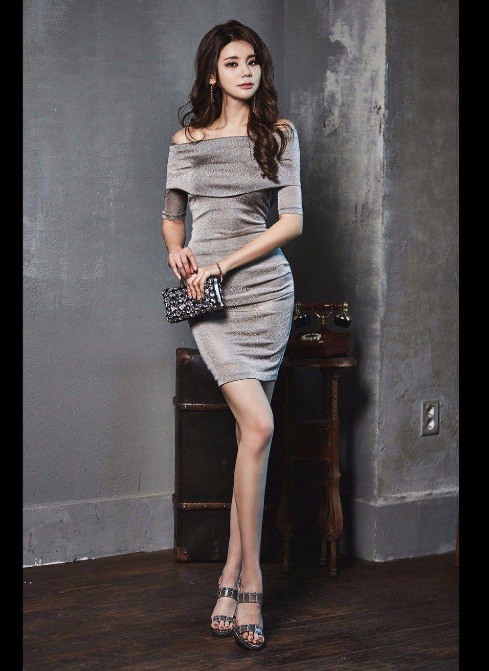 85b5b7f582886 Korean Women Silver Dress Pinkup Off Shoulder Bodycon Mini Night Club Dress  To Party Robe Sexy