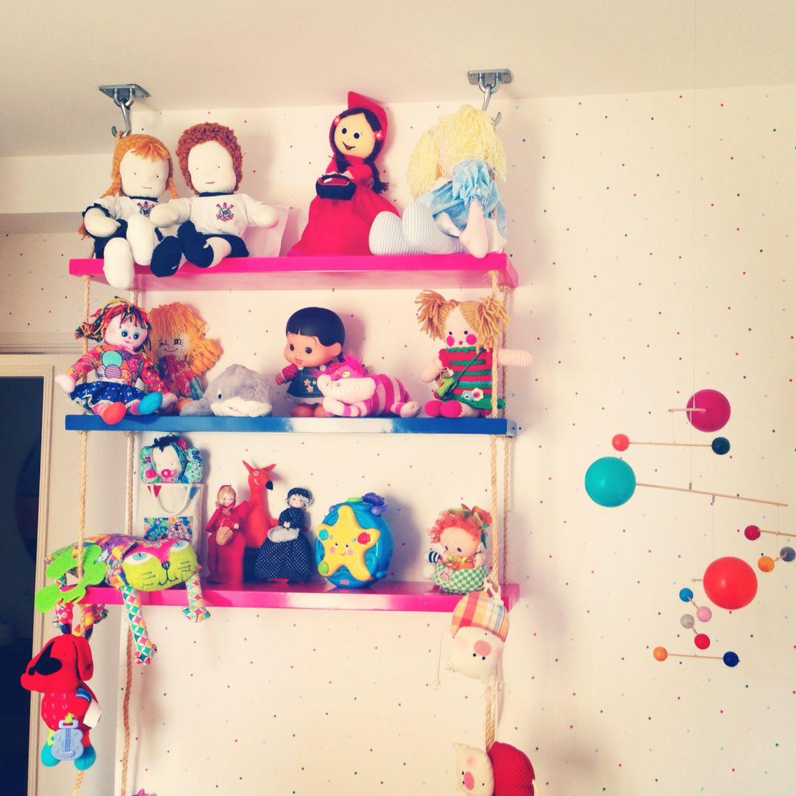 Balan O De Brinquedos Prateleira Pendurada No Teto Com Cordas  ~ Prateleira Em Quarto Infantil E Parede De Pvc Para Quarto