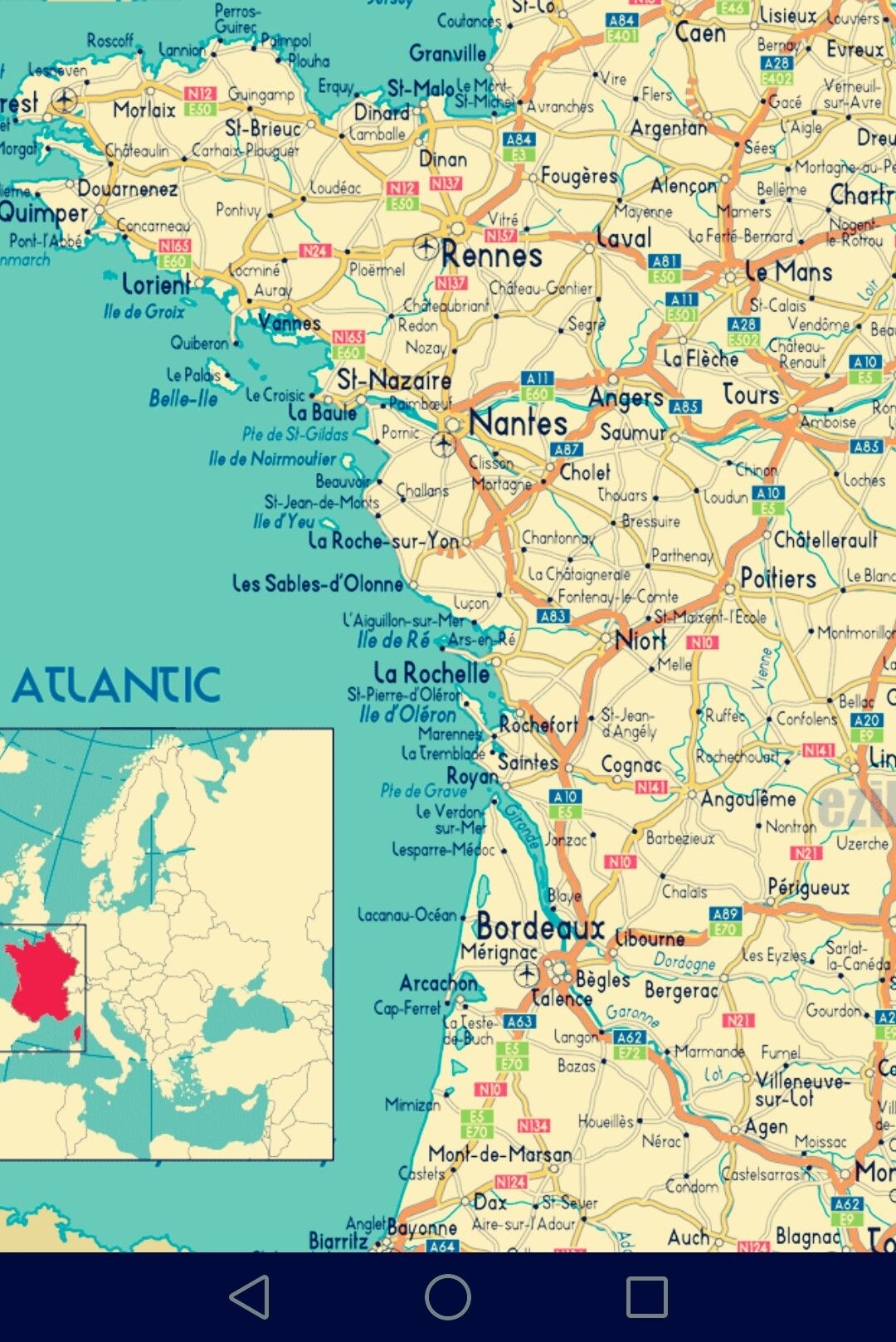 carte de la cote atlantique