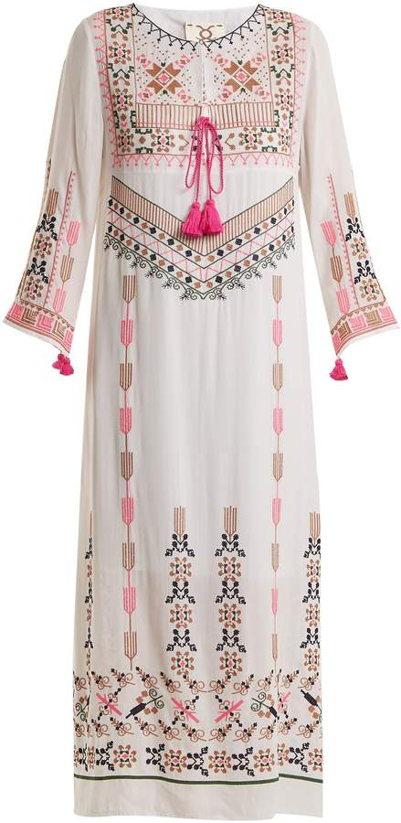 Josefina geometric-embroidered silk dress Figue agj8L