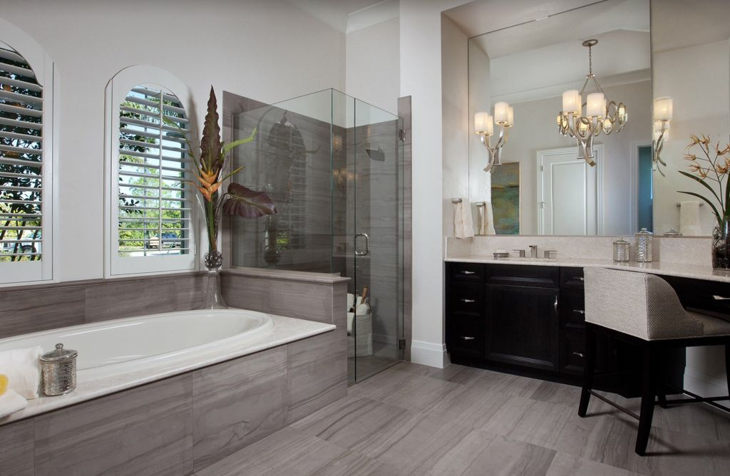 Contemporary Master Bathroom with Drop-In Bathtub, Frameless Shower Doors By Dulles Glass and Mirror, Flat panel cabinets