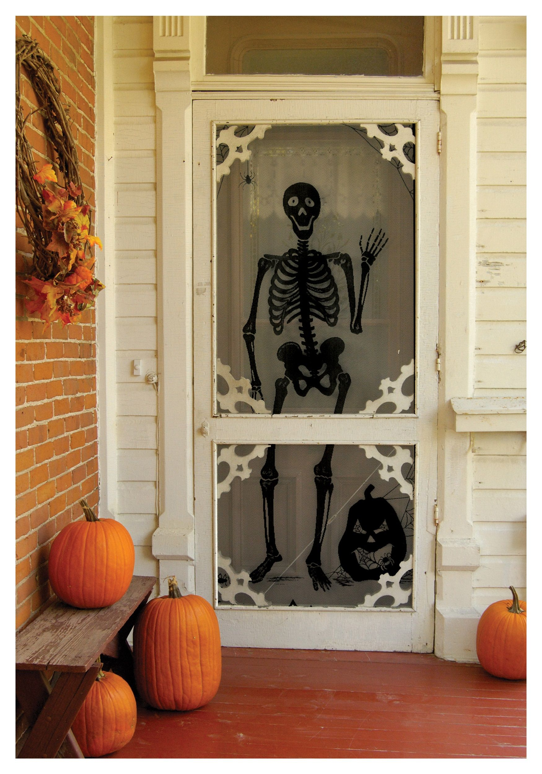 Halloween decor ~ front door skeleton Halloween Pinterest