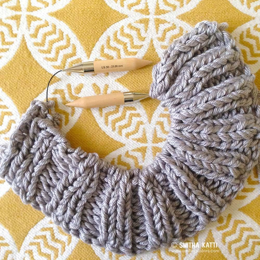 An easy Bulky Knit Blanket Free Pattern that uses three strands of ...