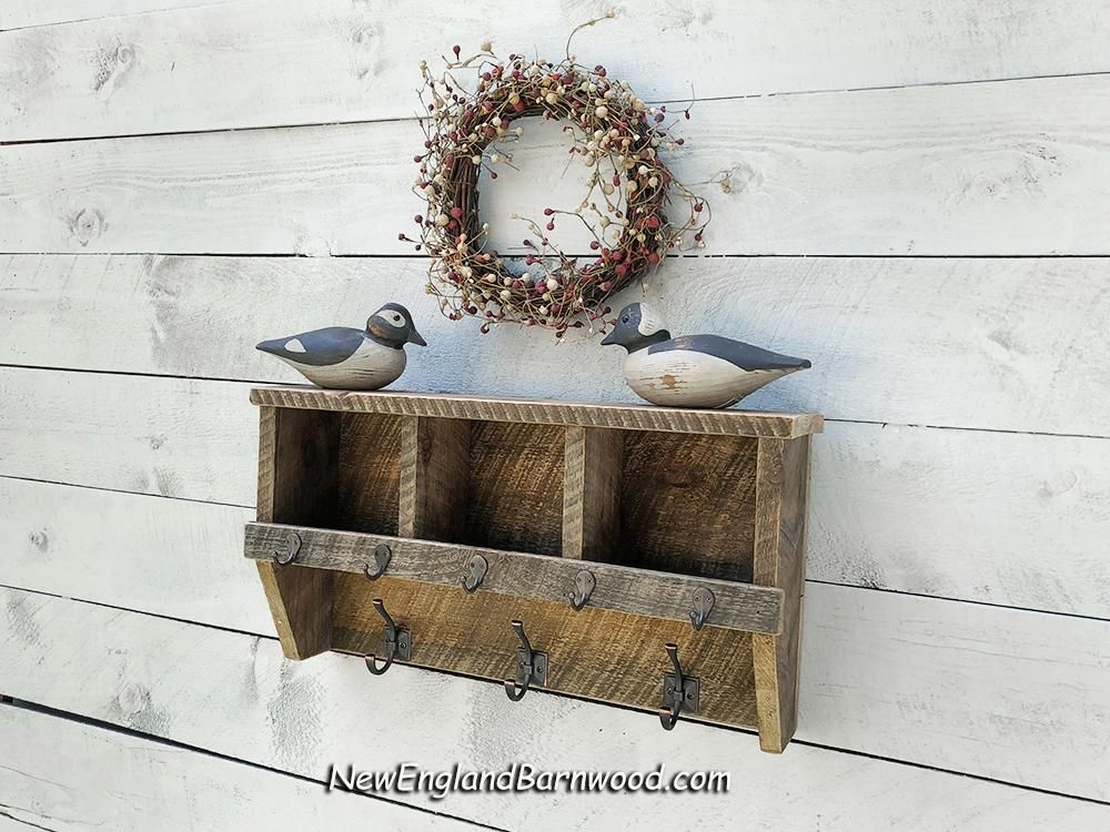 This Vintage Style Wall 3 Cubby Storage Shelf With Coat Hooks Farmhouse Entryway Shelf Or Bathroom Storage Shelf Is Ma Wood Cubby Wooden Storage Shelves Decor
