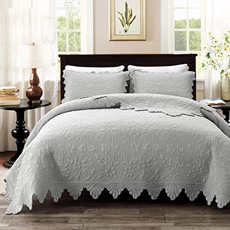 Amazon Com Brandream Luxury Farmhouse Bedding Quilt Set Grey King Size Quilted Bedspread Cove In 2020 Farmhouse Style Bedding Farmhouse Bedding Farmhouse Bedding Sets