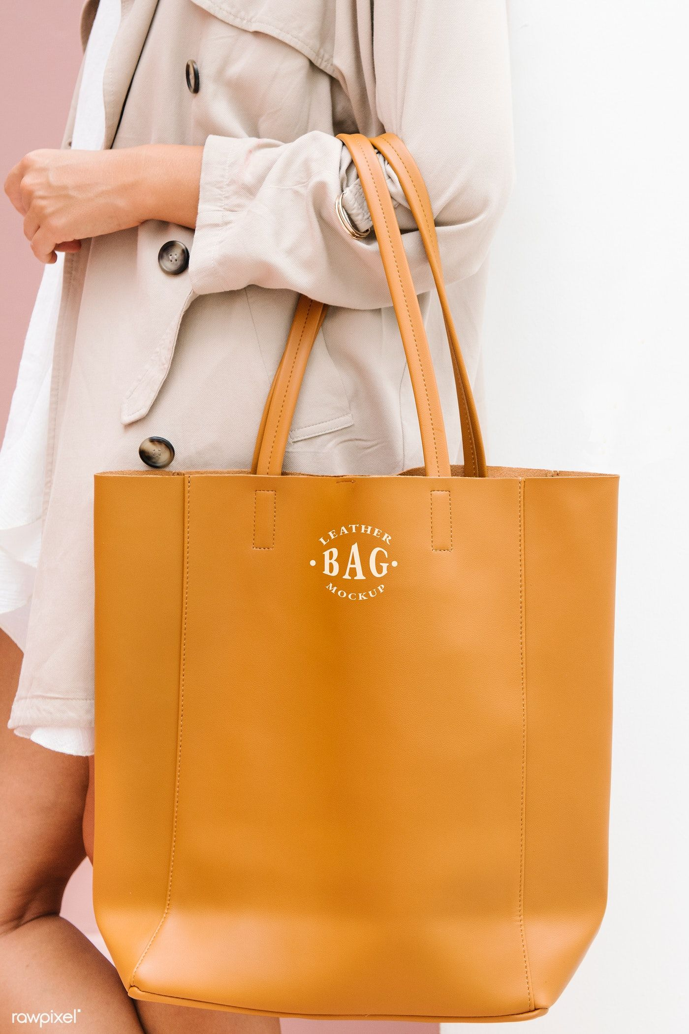 Download Download Premium Psd Of Woman Carrying A Brown Handbag Mockup 1215249