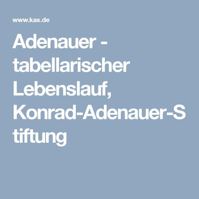 adenauer tabellarischer lebenslauf konrad adenauer stiftung - Konrad Adenauer Lebenslauf