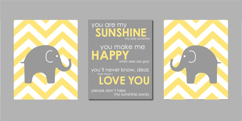 Modern Nursery Yellow and Gray Prints - Elephant Chevron Silhouettes ...