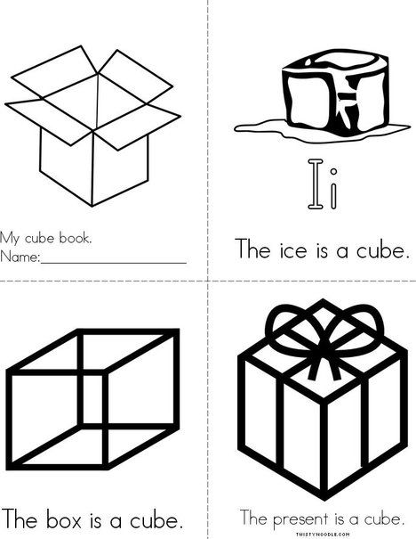 Cube Book From Twistynoodle Com Mini Books Shapes Activities Cube