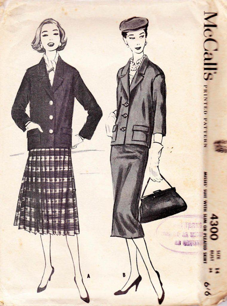 50s Slim or Pleated Skirt Jacket Pattern McCalls 4300 Vintage Sewing ...