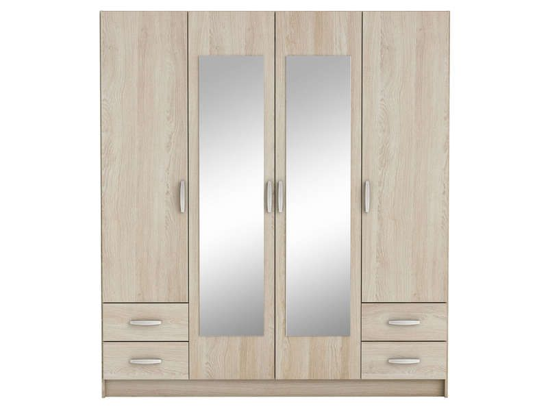 Armoire 4 portes + 4 tiroirs POP coloris chêne shannon - pas cher ...