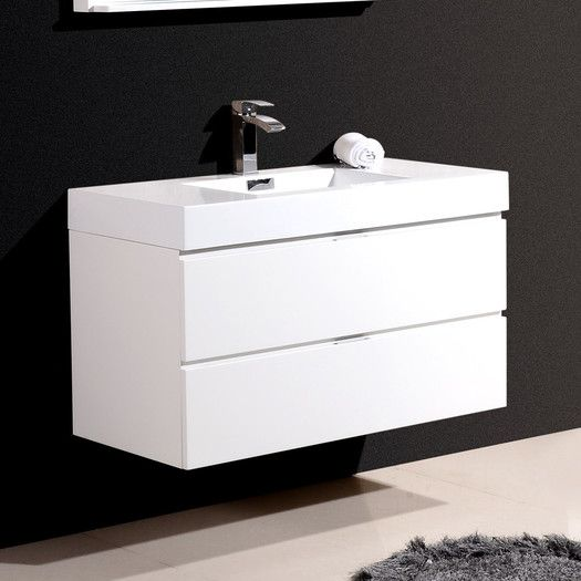Kube Bath Bliss 40 Single Wall Mount Modern Bathroom Vanity Set