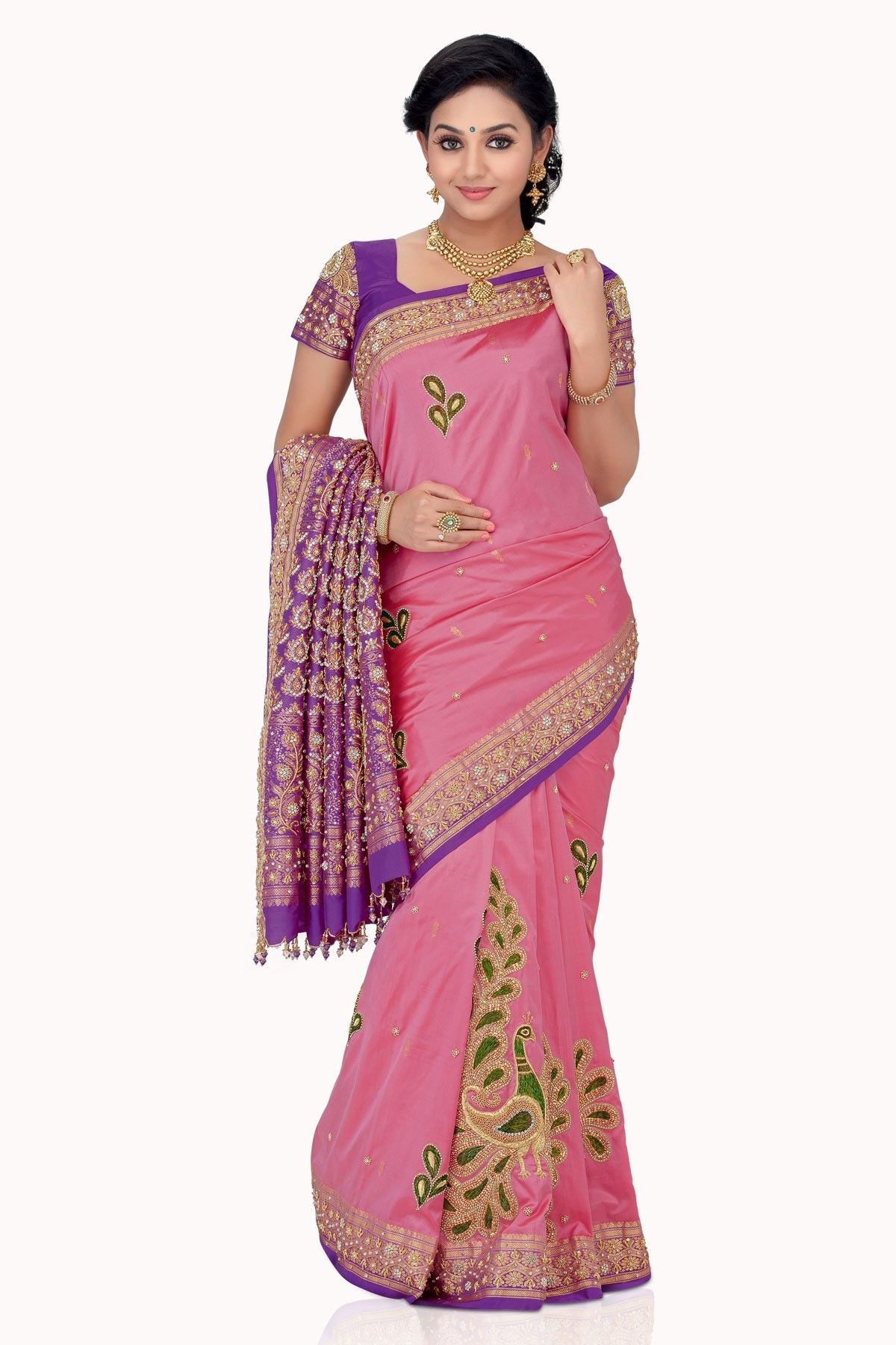 Mesmerizing #Pink Zari weaved & Stone worked pure #silk saree in ...