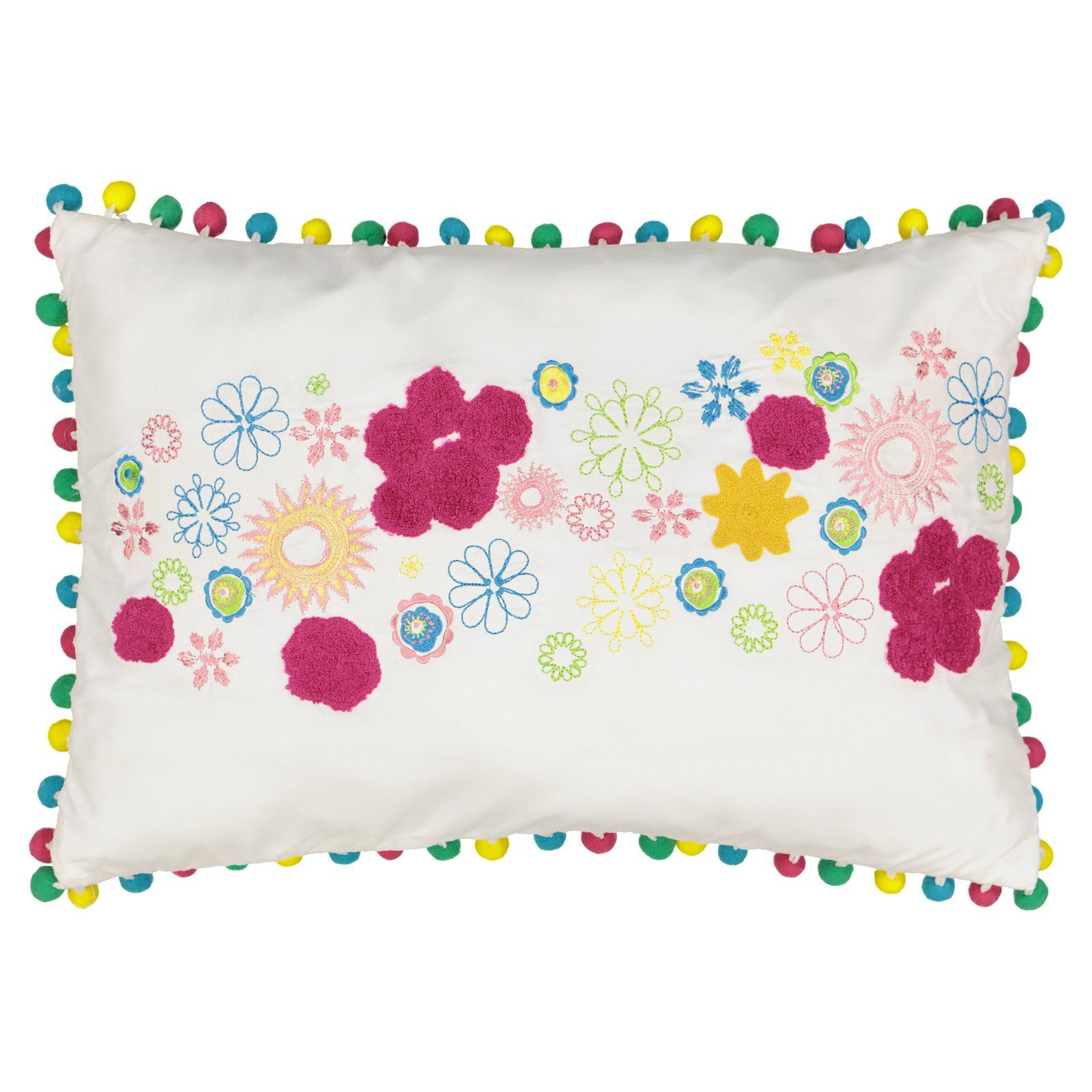 Spree Copacabana Embroidered Pom Pom Decorative Pillow By Waverly Girl S Throw Pillows Pillows
