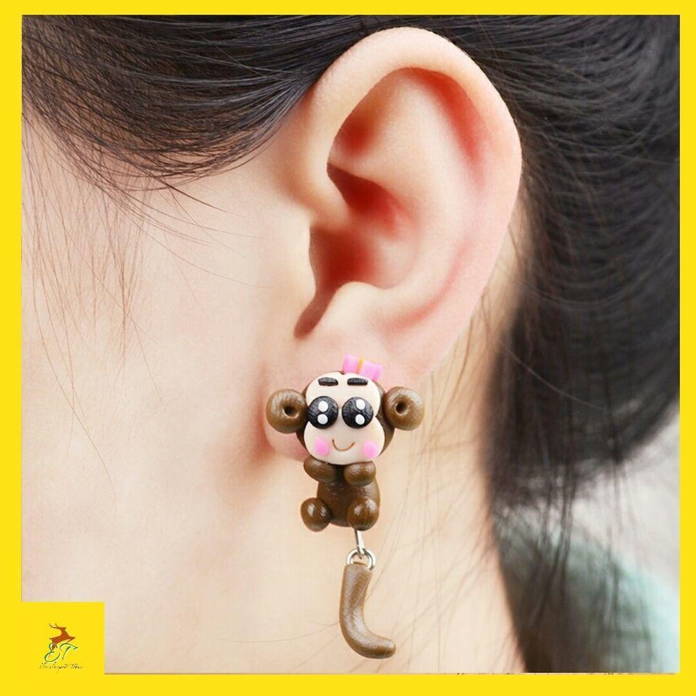 Nose piercing ring vs stud  Handmade Polymer Clay Lovely Monkey Stud Earring For Women Girl