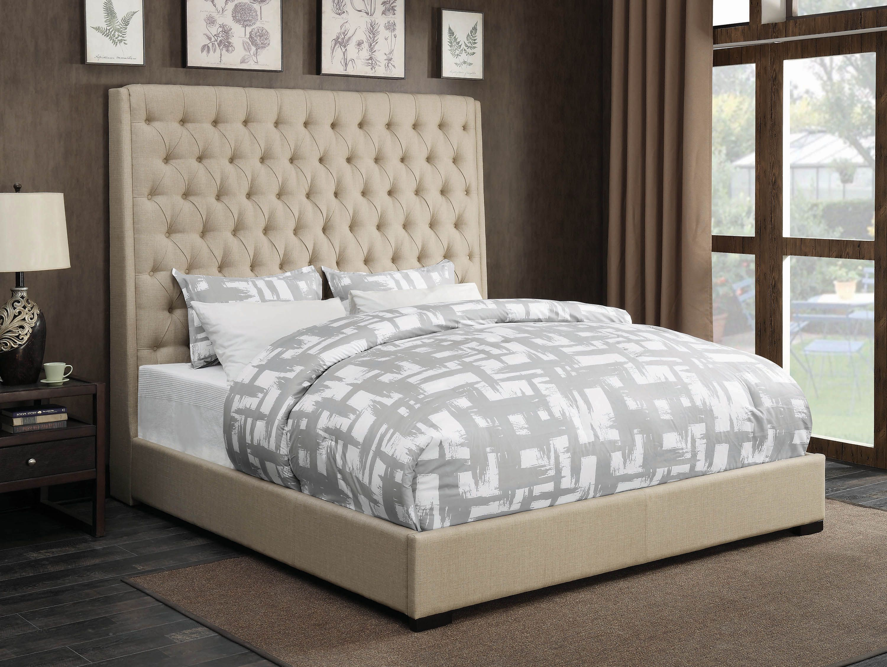 Best Camille Cream Upholstered Queen Bed Coaster Fine 400 x 300