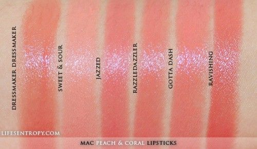 Mac Peach Amp Coral Lipstick Collection Swatches Coral