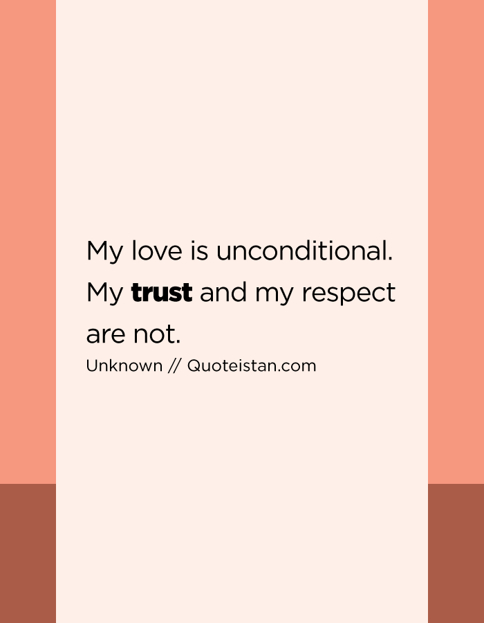 My Love Is Unconditional My Trust And My Respect Are Not Trust Quotes Unconditional Love Meaningful Quotes