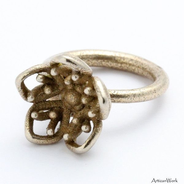 Stunning - Orchid Flower Ring in a Vintage Style Exotic Metal