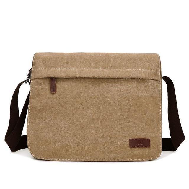 Color : Khaki KRPENRIO Simple Retro Zipper Waterproof Canvas Messenger Shoulder Bag Color Khaki