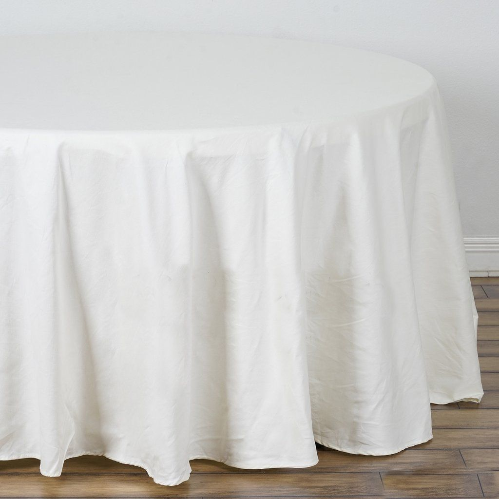 120 Ivory Round Chambury Casa 100 Cotton Tablecloth In 2020 Cotton Tablecloths Table Cloth Round Tablecloth