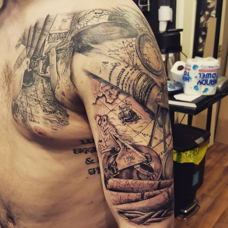 cool black and grey map sleeve