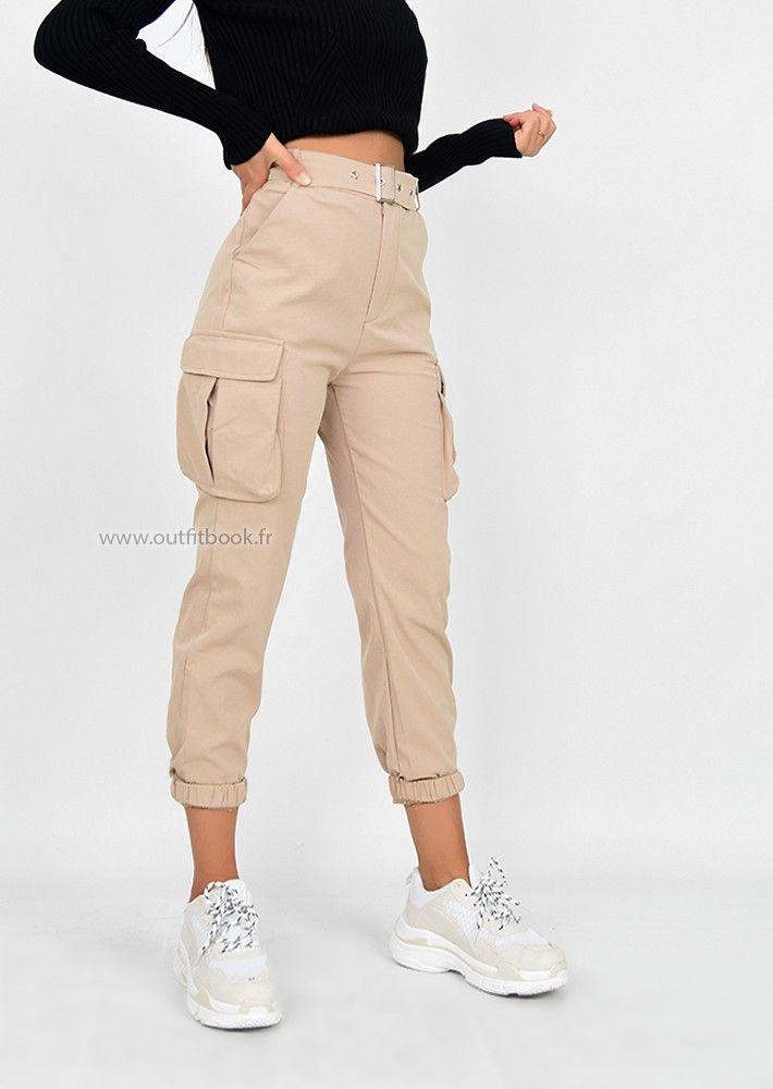 Pantalon Cargo Beige Avec Poches Moda De Ropa Pantalones De Moda Pantalones De Moda Mujer