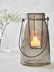 Glass Tealight Hurricane - Smoke Grey