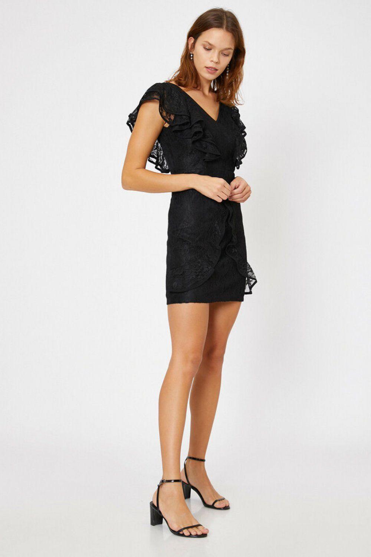 Koton Dantel Detayli Siyah Mini Abiye Elbise Elbisebul The Dress Elbise Siyah Kisa Elbise