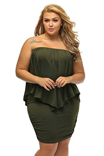 5db6d6b8014 Women s Plus Size Off the Shoulder Ruffle Frill Mini Party Holiday Dress