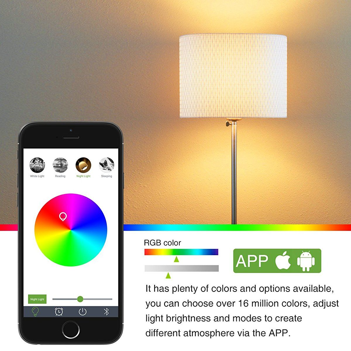 smartphone controlled lighting. LE Smart Bluetooth LED BR30 Light Bulb, 10W Dimmable, Multi-Color Changing Lights Smartphone Controlled Lighting M