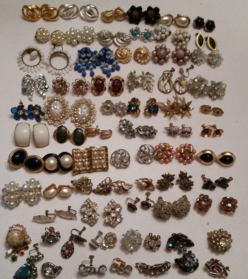 Huge Vintage Clip Earring Lot Schiaparelli Kramer Coro Vendome Trifari Ebay Fashion