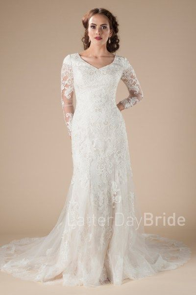 lds wedding dresses, the Natalia with long sleeves and full lace ...