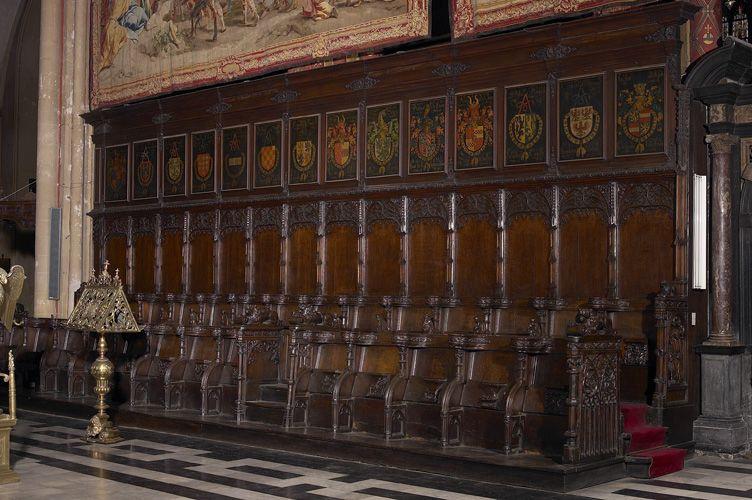 Golden Fleece Order stallplates, north wing, Kathedraal Sint-Salvator Brugge, by…