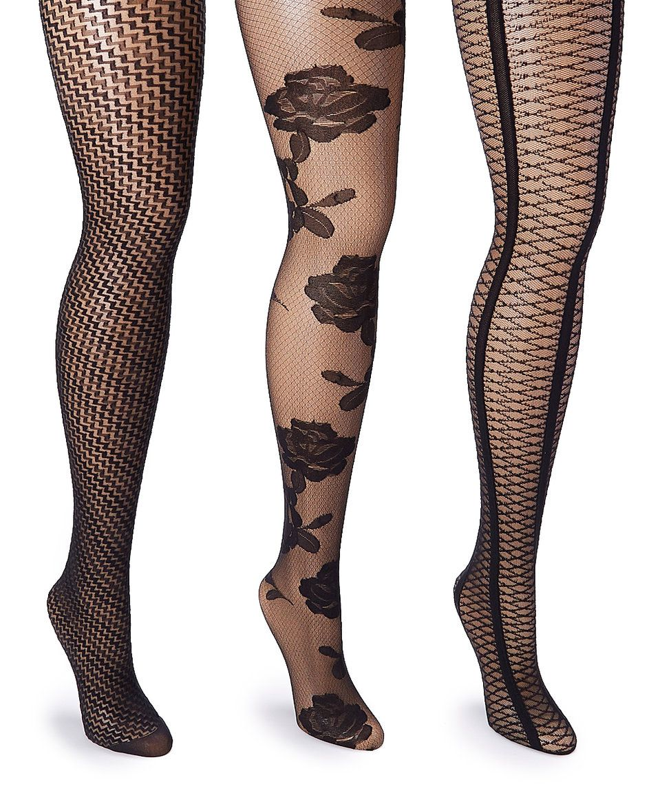 d723fed5b Take a look at this Black Sheer Floral & Houndstooth Tights Set - Plus Too  today!