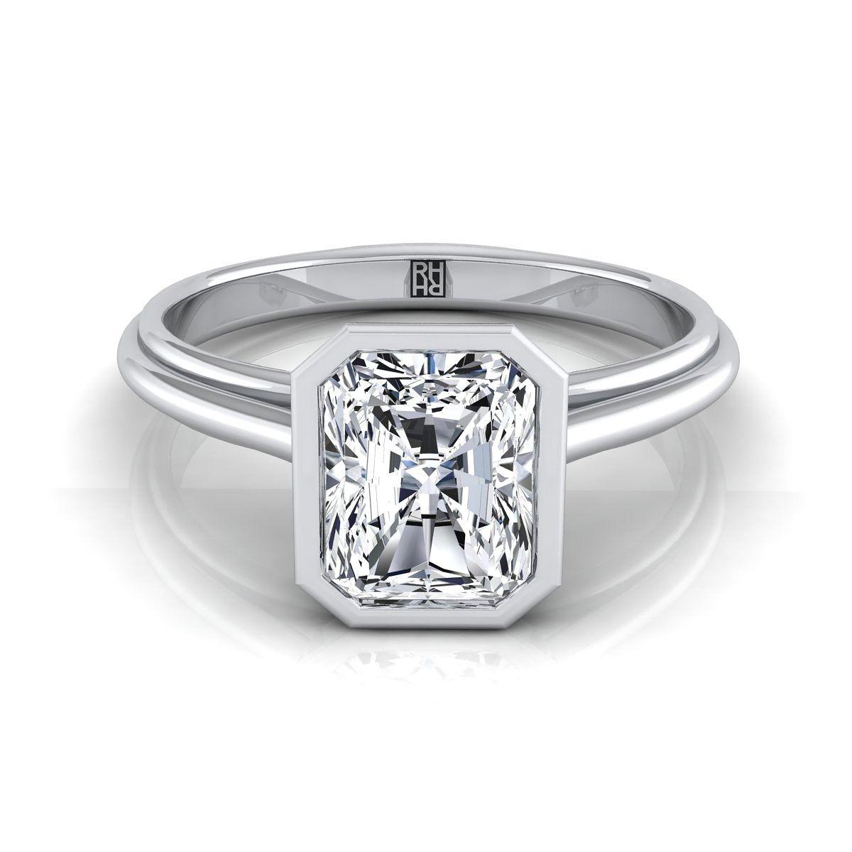 Radiant cut diamond bezel solitaire engagement ring in k white