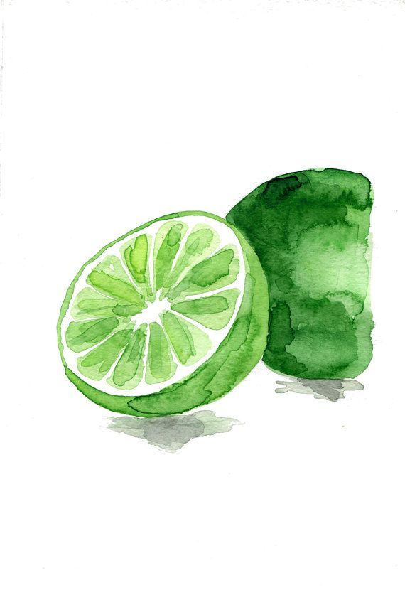 Lime Art Print Or Original Watercolor Painting Green Wall