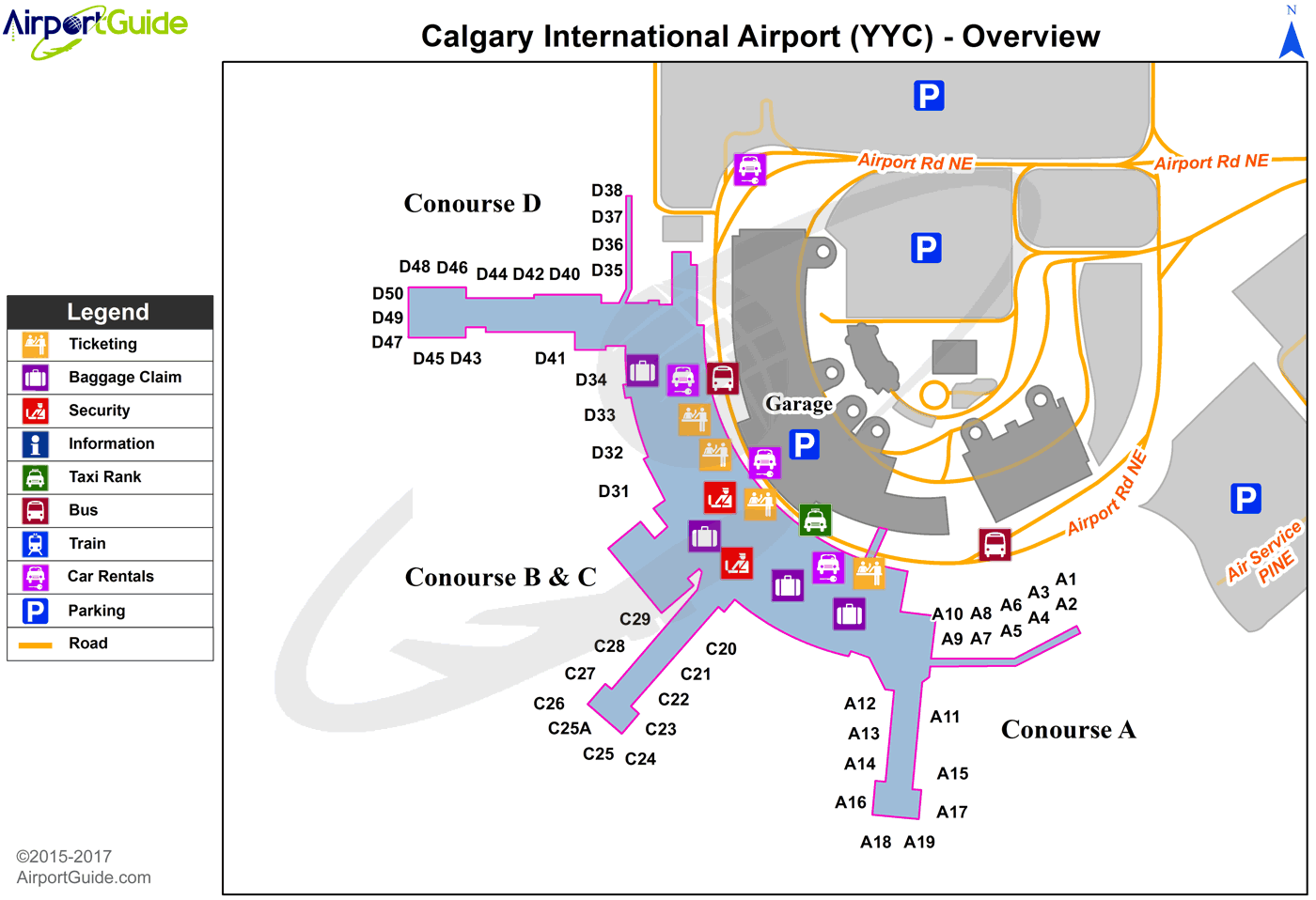 calgary international airport arrivals map Calgary Calgary International Yyc Airport Terminal Map calgary international airport arrivals map