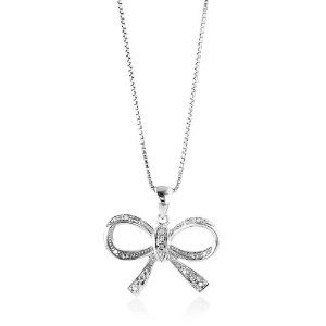 """Sterling Silver Diamond Accented Bow Pendant/Necklace with 18"""" Chain best seller - pandora jewelry 