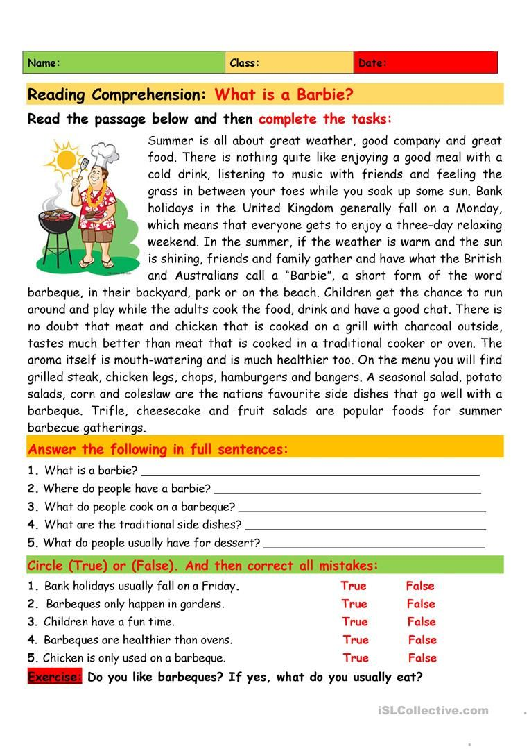 Reading Comprehension What Is A Barbie English Esl Worksheets For Distan Reading Comprehension Lessons Reading Comprehension Reading Comprehension For Kids [ 1079 x 763 Pixel ]