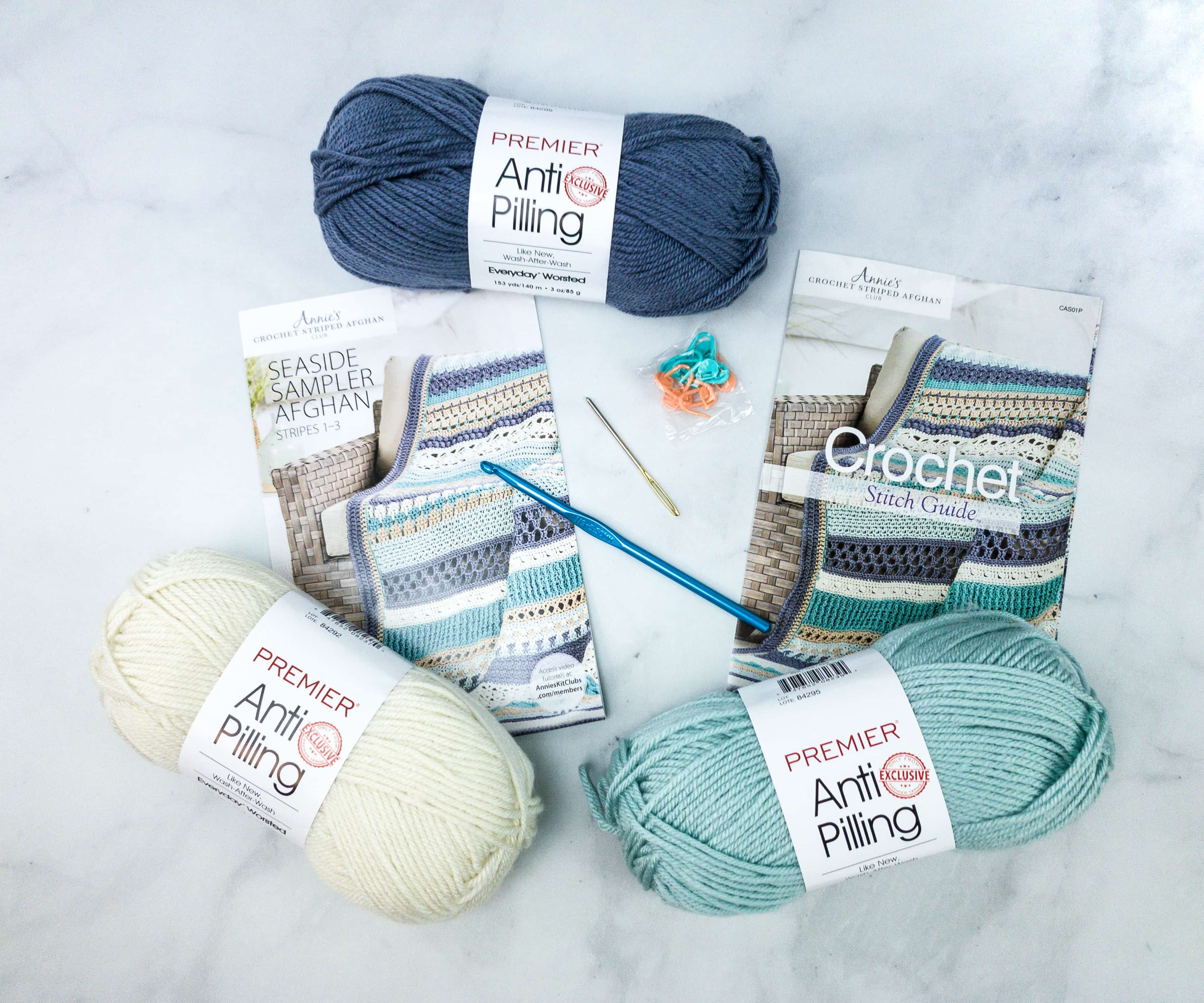 Annie S Crochet Striped Afghan Club Unboxing Review Coupon Seaside Sampler Afghan Hello Subscription In 2020 Annie S Crochet Crochet Afghan