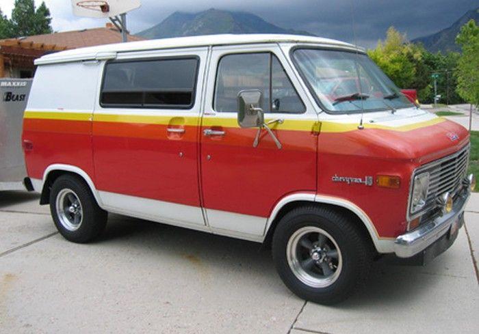 1972 Chevy 10 Van My Van Was Yellow With A Sunset Scene On The Side Panels Chevy Van Gmc Vans Vintage Vans
