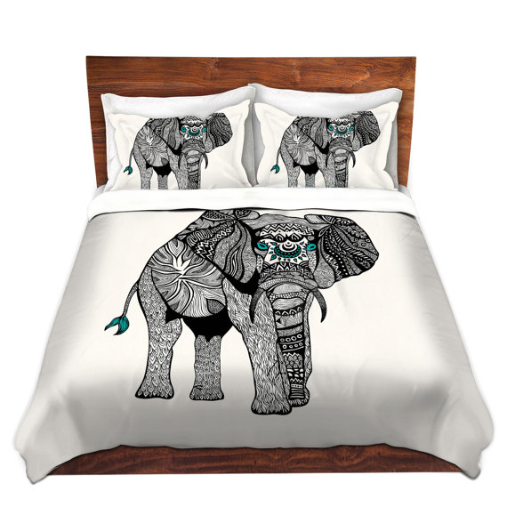 One Tribal Elephant Bed Duvet Cover For Twin Queen And