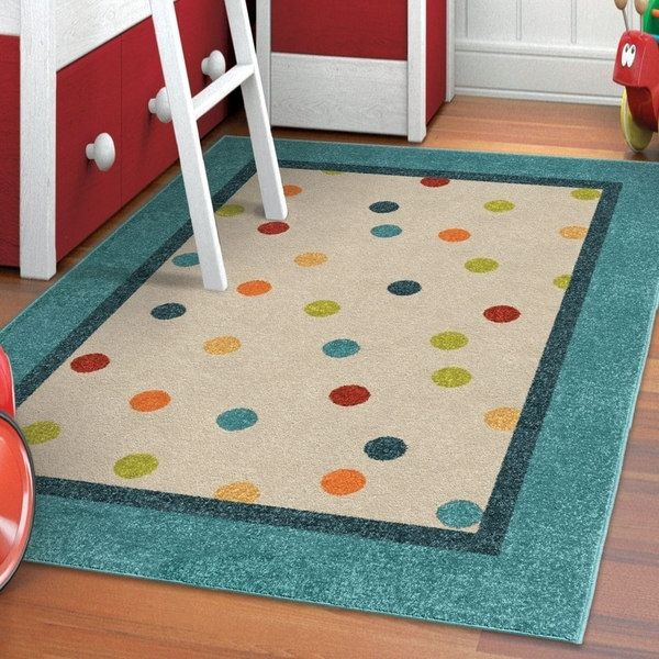 Carolina Weavers Playroom Collection Dotted Border Teal Area