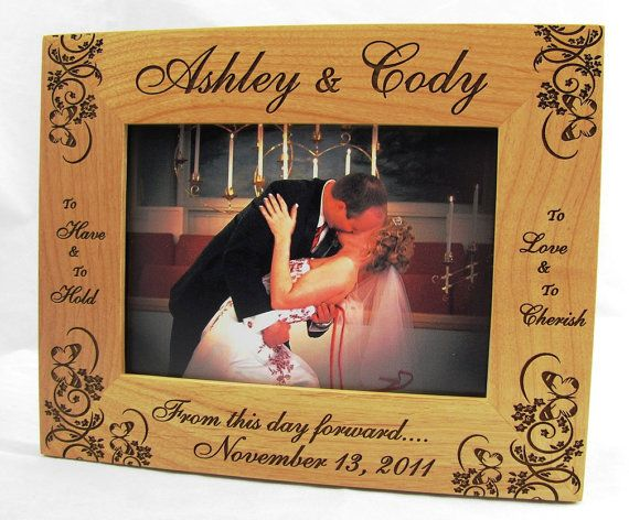 Personalized Engraved Couples Hearts Wood Picture Frame   Wood ...