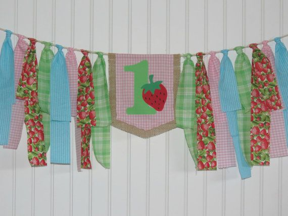 Customizable strawberry banner highchair banner by ThePartyOrchard