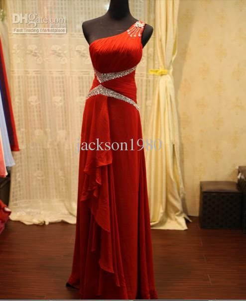 Wholesale 2013 Elegant Red Sheath One Shoulder Crystal Beaded Pleats Zipper Chiffon Real Sample Evening Dress, Free shipping, $139.77/Piece | DHgate