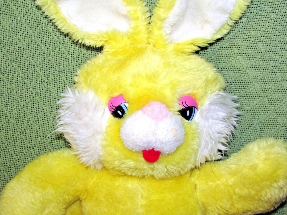 "Vintage 15"" YELLOW BUNNY Plush Rabbit Walmart Made in"