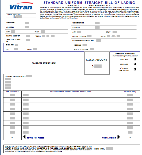 Bill Formats In Word Bill Of Lading Template  8 Printable Word & Pdf Formats .