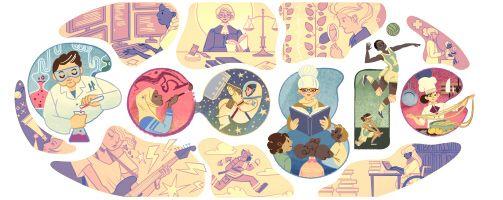 El doodle de Google celebra el Día Internacional de la Mujer. 8 de marzo 2015.